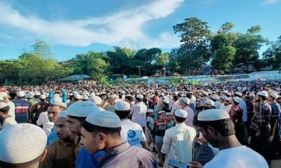 Thousands of `Rohingya Refugees` pay their last respects to Mohib Ullah
